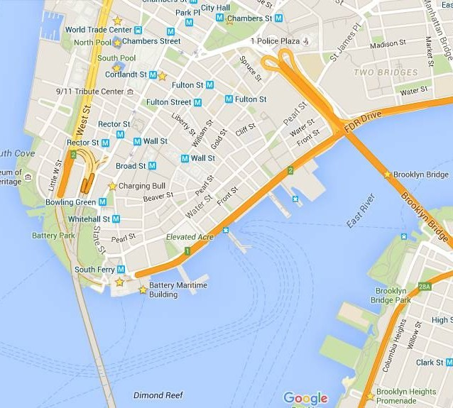 2015 Mapa Downtown y puente Brooklyn