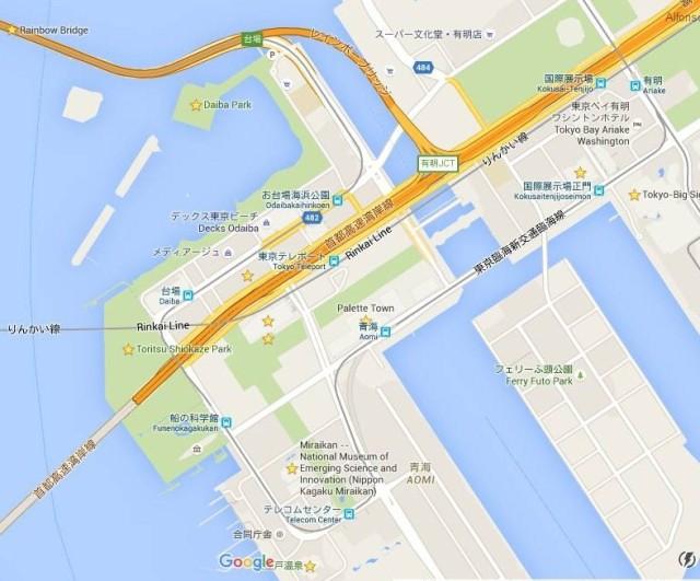 mapa odaiba