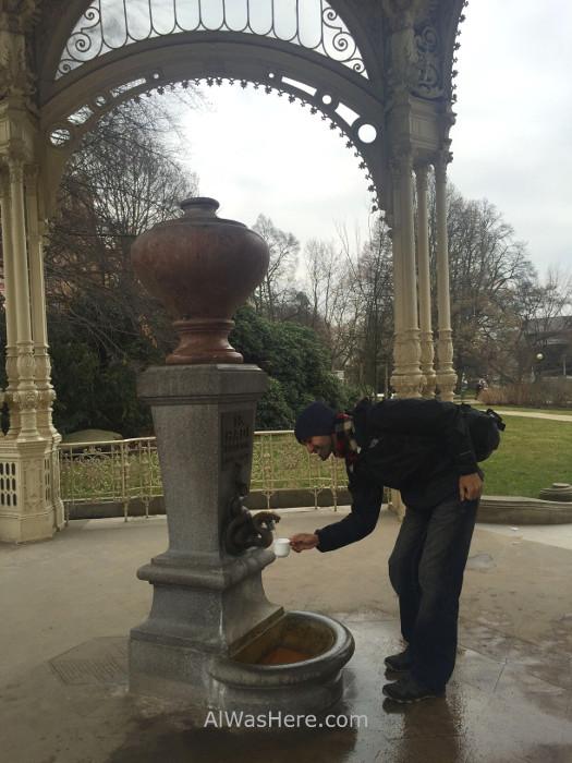 Bebiendo de la fuente de la Columnada del Parque