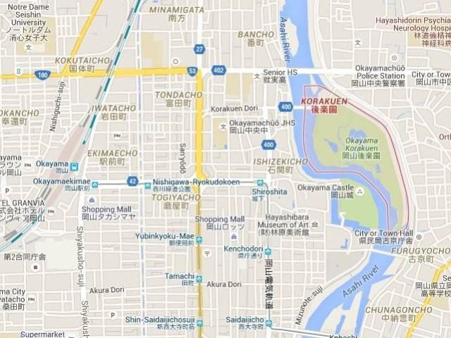 Mapa Okayama