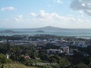 Northeast view from Mount Eden with Rangitoto Island Scenic Reserve in the background