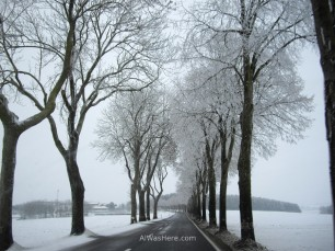Snowy road between Belgium and Luxemburg