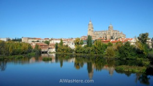 Salamanca's new cathedral reflected in the river