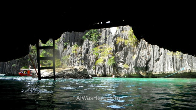 Isla de Coron 4. Twin Lagoon, paso entre lagunas Palawan, Filipinas. passing between, Coron Island, The Philippines