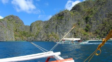 Our bangka passing nearby another one in Coron Island
