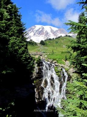 Myrtle Falls and Mount Rainier on the background, Washington, USA
