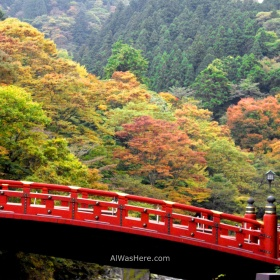 Shinkyo Bridge and the autumnal forest in Nikko