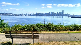 View of the Seattle skyline from Seacrest Park