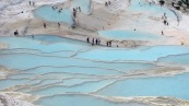 Pamukkale travertines with water, Turkey