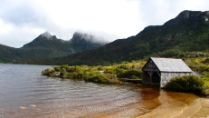 Lake and small pier near Cradle Mountain, Tasmania