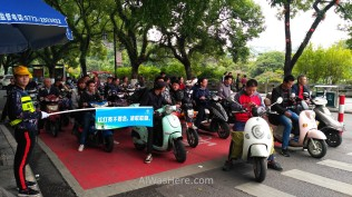 Motorbikes in a crossroad in Guilin City