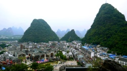 From top of Yangshuo Park we can see the city center, easily accessible on foot