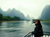 Photo taken from the bow of our boat, the best way to go from Guilin to Yangshuo or viceversa
