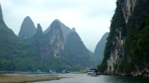 Boats in Li River from Guilin to Yangshuo, China
