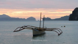 Bangka in Corong Corong at dusk, El Nido, Palawan, Philippines