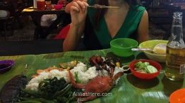 Traditional dish in banana tree leaves in Puerto Princesa