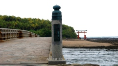 The brigde, the island and the Japanese gate, Aoshima, Miyazaki, Japan