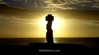 Sunset and moai, Easter Island, Chile