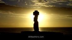 Sunset and moai, Easter Island, Chile