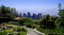 View of Santiago's skyline in 2008 from the Japanese garden in Cerro San Cristóbal, Parque Metropolitano