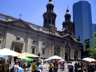 Stalls vending paintings in front of Catedral Metropolitana, Plaza de Armas, Santiago de Chile